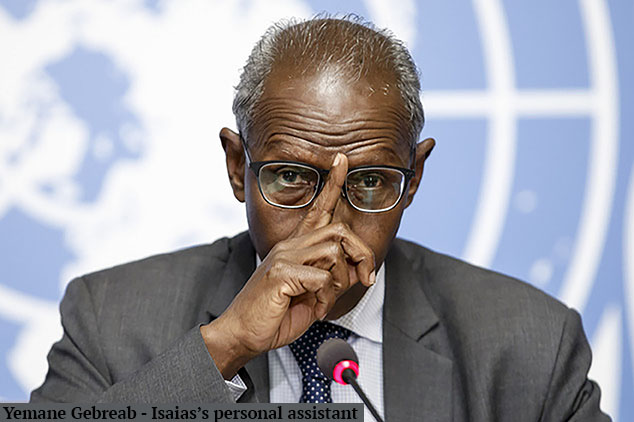 """Presidential adviser Yemane Gebreab of Eritrea presents his response to the conclusions by the Commission of Inquiry on Human Rights in Eritrea, during a press conference, at the European headquarters of the United Nations in Geneva, Switzerland, Wednesday, June 8, 2016. Gebreab accused the panel of being """"entirely one-sided."""" (Salvatore Di Nolfi/Keystone via AP)"""